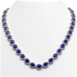 45.93 CTW Sapphire & Diamond Halo Necklace 10K White Gold - REF-674T2M - 41048