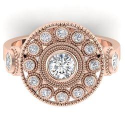 0.85 CTW Certified VS/SI Diamond Art Deco 3 Stone Ring 14K Rose Gold - REF-118A2X - 30472
