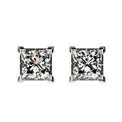1 CTW Certified VS/SI Quality Princess Diamond Stud Earrings 10K White Gold - REF-147H2A - 33063