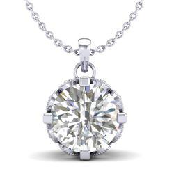1.5 CTW VS/SI Diamond Solitaire Art Deco Stud Necklace 18K White Gold - REF-363K5W - 36845