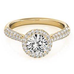 1.4 CTW Certified VS/SI Diamond Solitaire Halo Ring 18K Yellow Gold - REF-380A2X - 26187