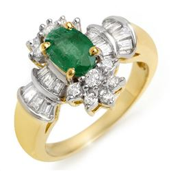 1.75 CTW Emerald & Diamond Ring 14K Yellow Gold - REF-70N9Y - 10585