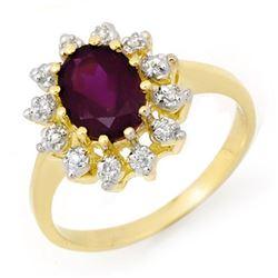 1.19 CTW Amethyst & Diamond Ring 10K Yellow Gold - REF-21K8W - 14236
