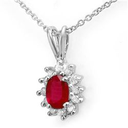 0.51 CTW Ruby & Diamond Pendant 14K White Gold - REF-16T8M - 12623