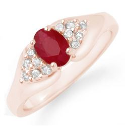 0.83 CTW Ruby & Diamond Ring 14K Rose Gold - REF-38T2M - 12920