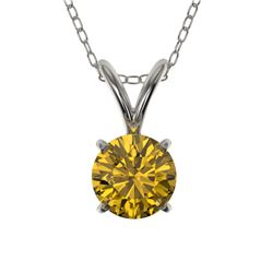 0.53 CTW Certified Intense Yellow SI Diamond Solitaire Necklace 10K White Gold - REF-70A5X - 36732