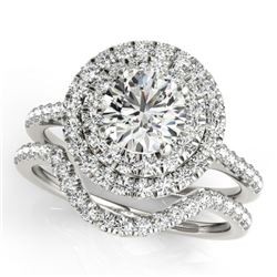 1.45 CTW Certified VS/SI Diamond 2Pc Set Solitaire Halo 14K White Gold - REF-228F2N - 30680