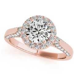 1.5 CTW Certified VS/SI Diamond Solitaire Halo Ring 18K Rose Gold - REF-387F5N - 26384
