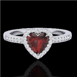 1.20 CTW Garnet & Micro VS/SI Diamond Ring Heart Halo 14K White Gold - REF-35T3M - 21406