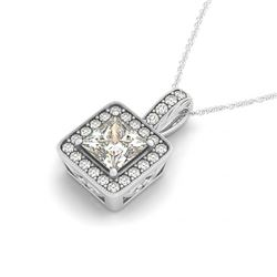1.5 CTW Princess VS/SI Diamond Solitaire Halo Necklace 14K White Gold - REF-449A5X - 30019