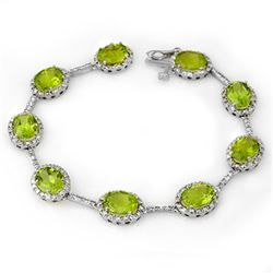 20.33 CTW Peridot & Diamond Bracelet 14K White Gold - REF-135W3F - 11014