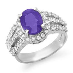 4.70 CTW Tanzanite & Diamond Ring 18K White Gold - REF-180Y2K - 14345