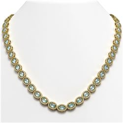 24.65 CTW Aquamarine & Diamond Halo Necklace 10K Yellow Gold - REF-572M8H - 40426