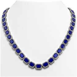 58.59 CTW Sapphire & Diamond Halo Necklace 10K White Gold - REF-731M3H - 41336
