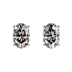 1 CTW Certified VS/SI Quality Oval Diamond Solitaire Stud Earrings 10K White Gold - REF-147A2X - 330