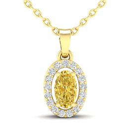 0.65 CTW Citrine & Micro Pave VS/SI Diamond Necklace Halo 18K Yellow Gold - REF-25Y5K - 21318