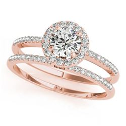 1.11 CTW Certified VS/SI Diamond 2Pc Wedding Set Solitaire Halo 14K Rose Gold - REF-191F5N - 30799