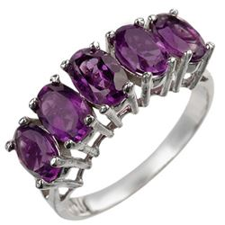 2.0 CTW Amethyst Ring 10K White Gold - REF-16H2A - 10943