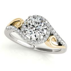 0.75 CTW Certified VS/SI Diamond Solitaire Halo Ring 18K White & Yellow Gold - REF-121X5T - 26851