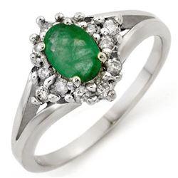 0.85 CTW Emerald & Diamond Ring 18K White Gold - REF-43K5W - 10273
