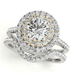 1.45 CTW Certified VS/SI Diamond 2Pc Set Solitaire Halo 14K White & Yellow Gold - REF-228K2W - 30684