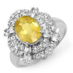 3.05 CTW Yellow Sapphire & Diamond Ring 18K White Gold - REF-100Y2K - 14343