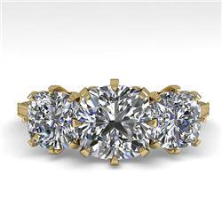 2 CTW Solitaire Past Present Future VS/SI Cushion Diamond Ring 18K Yellow Gold - REF-414T2M - 35788