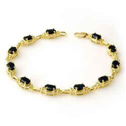 7.33 CTW Blue Sapphire Bracelet 10K Yellow Gold - REF-53Y6K - 14263