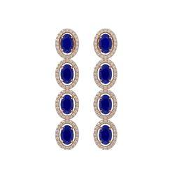 6.47 CTW Sapphire & Diamond Halo Earrings 10K Rose Gold - REF-109N5Y - 40509