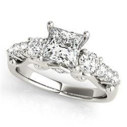 1.75 CTW Certified VS/SI Diamond 3 Stone Princess Cut Ring 18K White Gold - REF-447F8N - 27996
