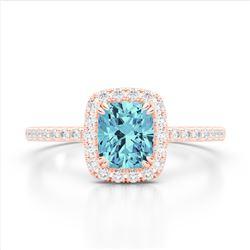 1.25 CTW Sky Blue Topaz & Micro Pave VS/SI Diamond Halo Ring 10K Rose Gold - REF-34F5N - 22913