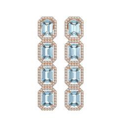 11.54 CTW Aquamarine & Diamond Halo Earrings 10K Rose Gold - REF-193A3X - 41451