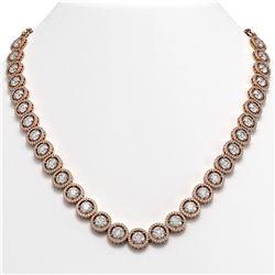35.32 CTW Diamond Designer Necklace 18K Rose Gold - REF-5509F8N - 42669