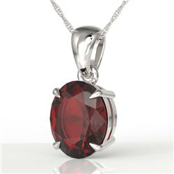 3.50 CTW Garnet Designer Inspired Solitaire Necklace 18K White Gold - REF-29W3F - 21863