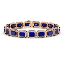 26.21 CTW Sapphire & Diamond Halo Bracelet 10K Rose Gold - REF-326A9X - 41385