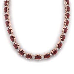 61.85 CTW Garnet & VS/SI Certified Diamond Eternity Necklace 10K Rose Gold - REF-275H8A - 29509