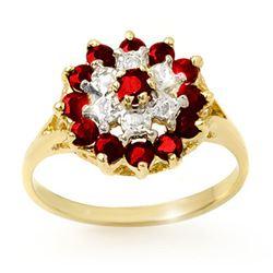 1.12 CTW Ruby & Diamond Ring 10K Yellow Gold - REF-19X6T - 12565