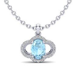 2 CTW Aquamarine & Micro Pave VS/SI Diamond Necklace 10K White Gold - REF-34K8W - 20622