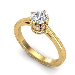 0.81 CTW VS/SI Diamond Art Deco Ring 18K Yellow Gold - REF-135M8H - 36826