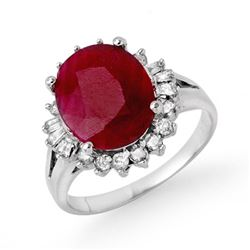 4.04 CTW Ruby & Diamond Ring 18K White Gold - REF-103T6M - 13301