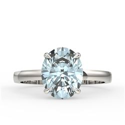 3.50 CTW Sky Blue Topaz Designer Inspired Solitaire Ring 18K White Gold - REF-36A2X - 22086