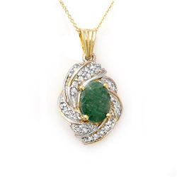 3.17 CTW Emerald & Diamond Pendant 14K Yellow Gold - REF-81M8H - 13131