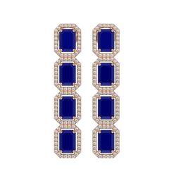 12.33 CTW Sapphire & Diamond Halo Earrings 10K Rose Gold - REF-158Y4K - 41433