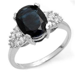 3.80 CTW Blue Sapphire & Diamond Ring 14K White Gold - REF-63Y6K - 12465