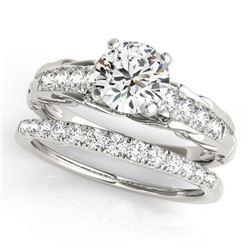 1.29 CTW Certified VS/SI Diamond Solitaire 2Pc Wedding Set 14K White Gold - REF-374T9M - 31649