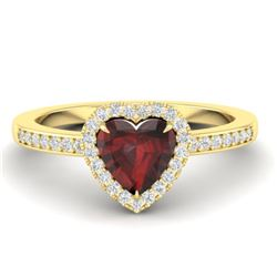 1.20 CTW Garnet & Micro VS/SI Diamond Ring Heart 14K Yellow Gold - REF-35H3A - 21407