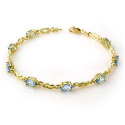 5.07 CTW Blue Topaz & Diamond Bracelet 10K Yellow Gold - REF-32K8W - 13706