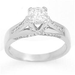 1.18 CTW Certified VS/SI Diamond Ring 18K White Gold - REF-280T6M - 11380
