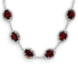 41.0 CTW Garnet & Diamond Necklace 10K White Gold - REF-194A5X - 10813