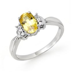 1.40 CTW Yellow Sapphire & Diamond Ring 18K White Gold - REF-40F9N - 14073